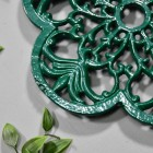 Cast Iron Flower Petal Trivet in Green Close-Up