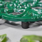 Cast Iron Flower Petal Trivet in Green Feet