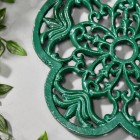 Cast Iron Flower Petal Trivet in Green Detailing