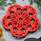 Robust Red Cast Iron Flower Petal Trivet