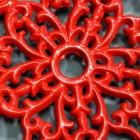 Red Cast Iron Flower Petal Trivet Centre Detailing