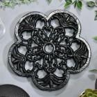 Robust Black Cast Iron Flower Trivet