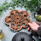 Rustic Cast Iron Flower Trivet to Scale