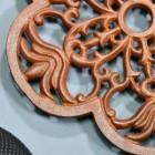 Rustic Cast Iron Flower Trivet Petal Close-Up