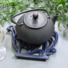 Blue Cast Iron Kettle Trivet & Teapot