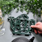Green Cast Iron Kettle Trivet to Scale