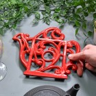 Red Cast Iron Kettle Trivet to Scale