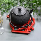 Red Cast Iron Kettle Trivet with Teapot