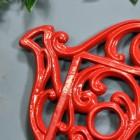 Red Cast Iron Kettle Trivet Details