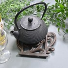 Rustic Kettle Shaped Cast Iron Trivet with Teapot