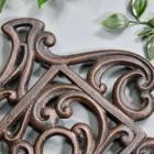 Rustic Kettle Shaped Cast Iron Trivet Details