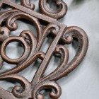 Rustic Kettle Shaped Cast Iron Trivet Scrolled Details