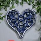 Blue Heavy Duty Heart Trivet Birdseye View