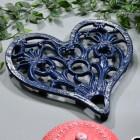 Blue Heavy Duty Heart Trivet in Situ