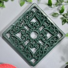 Green Square Cast Iron Trivet in Situ