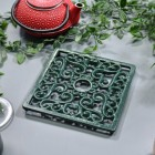 Green Square Cast Iron Trivet Angled View