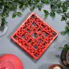 Red Cast Iron Square Trivet Birdseye View
