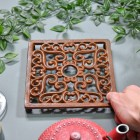 Rustic Cast Iron Square Trivet to Scale