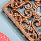 Rustic Cast Iron Square Trivet Close-Up