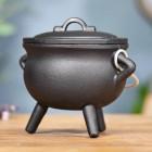 Small Cast Iron Cauldron Finished in Black Tripod
