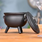 Small Cast Iron Cauldron Finished in Black Lid & Bowl