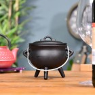 Small Cast Iron Cauldron Finished in Black Hinged Handle