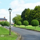 Olive Green Opulent Cast Iron Lamp Post Installed On Driveway