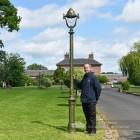 Olive Green Opulent Cast Iron Lamp Post Scale Shot