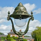 Olive Ornate Green Lamp Post Top