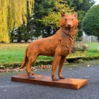 Rustic Cast Iron Wolf Sculpture