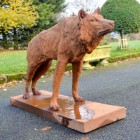 "Cast Iron ""Looking Forward"" Wolf Sculpture Finished in a Rustic finish"