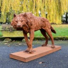 """Cast Iron """"Creeping"""" Wolf Sculpture Finished in a Rustic finish"""