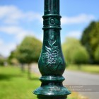 Orante Detail On Green Cast Iron Lamp Post Column
