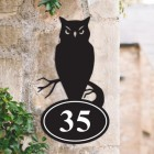 Bespoke Owl Iron House Number Sign on a Garden Wall