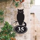 Bespoke Owl Iron House Number Sign in Situ