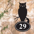 Owl Iron House Number Sign in Situ on a Rustic Wall