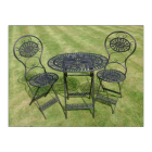 Ornate Table and Chair Set Finished in Black