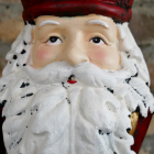 Close-up of the Face of the Painted Father Christmas Ornament