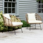 """Pair of Polyethylene """"Bamboo"""" Armchairs in Situ in the Garden"""