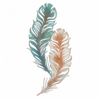 Feather Wall Art in a Pastel Blue & Orange