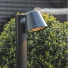 Modern Black Outdoor Pillar Path Light Close Up