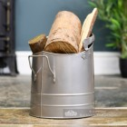 Pewter Finish Traditional Fireside Log and Coal Bucket Holding Wood
