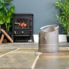 Pewter Finish Traditional Fireside Log and Coal Bucket in Situ by the Fire Place