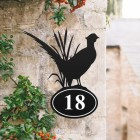 Pheasant House Number Sign Created Out of Iron