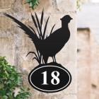 Bespoke Pheasant Iron House Number Sign in Situ