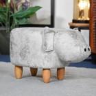 Pig Grey Leather Stool in Situ in a  Modern Sitting Room