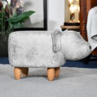 View of the Side of the Pig Grey Leather Stool