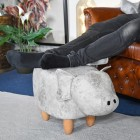 Pig Grey Leather Stool to Scale