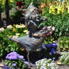Pixie on Bird Garden Sculpture Finished in Bronze