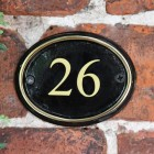 Oval House Number Sign With Vinyl Numbers Finished in a Polished Brass & Black